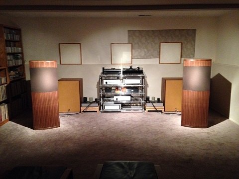 The new Exemplar Audio Speakers in our listening room with Stillpoint rack, Exception Integrated and Exemplar Audio modified Opp 105