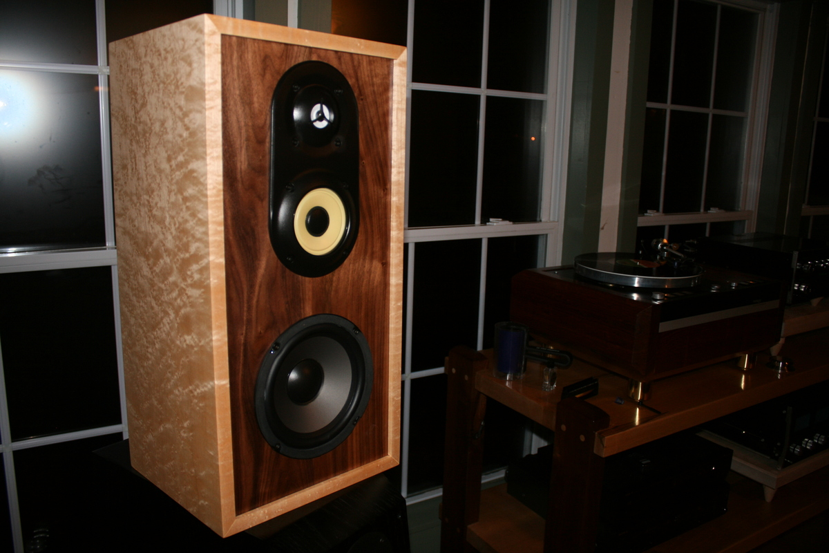 speakers i made for my daughter and grand daughter for christmas birdseye maple and walnut