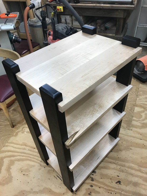 my 4 shelf vertical rack with black legs all maple