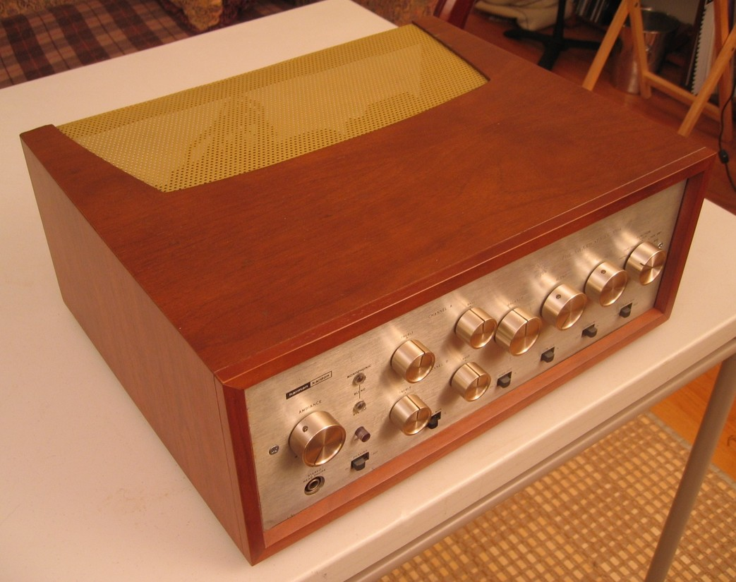 "HK Award A500 ""Hotrod""- Heathkit AA100 output transformers, custom refinished wood case, 5881 tube conversion"