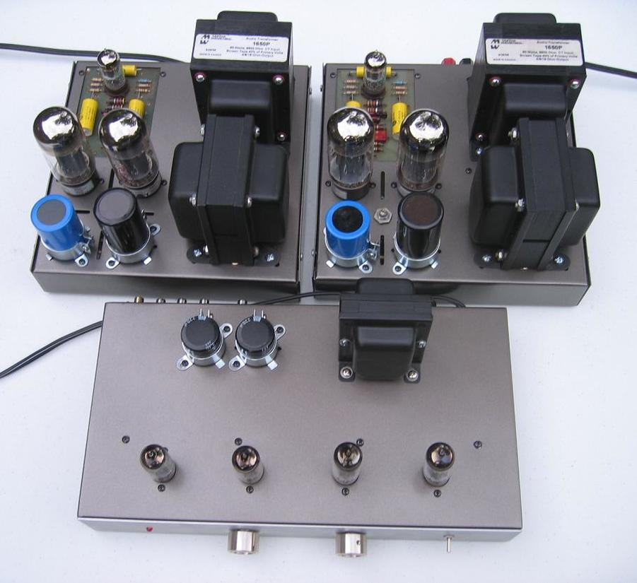 """Dyna-P2P"" hand-built point-to-point wired preamp, and ""Mk 6L6"" Modded Dyna MK III amps"