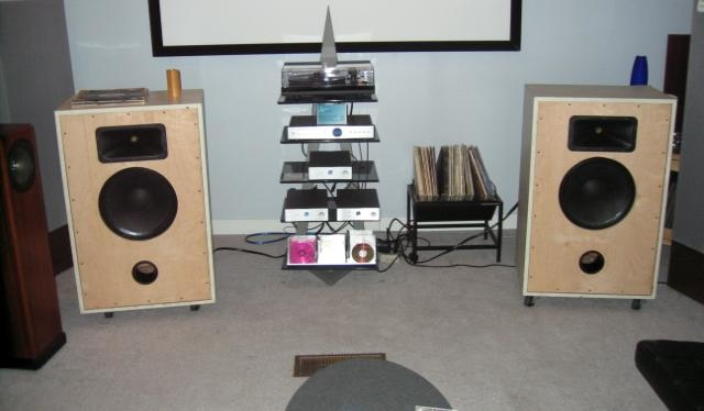 "The ""BiggiEwaves""- custom built Econowave speaker, with custom modded Electrovoice 15"" woofers"
