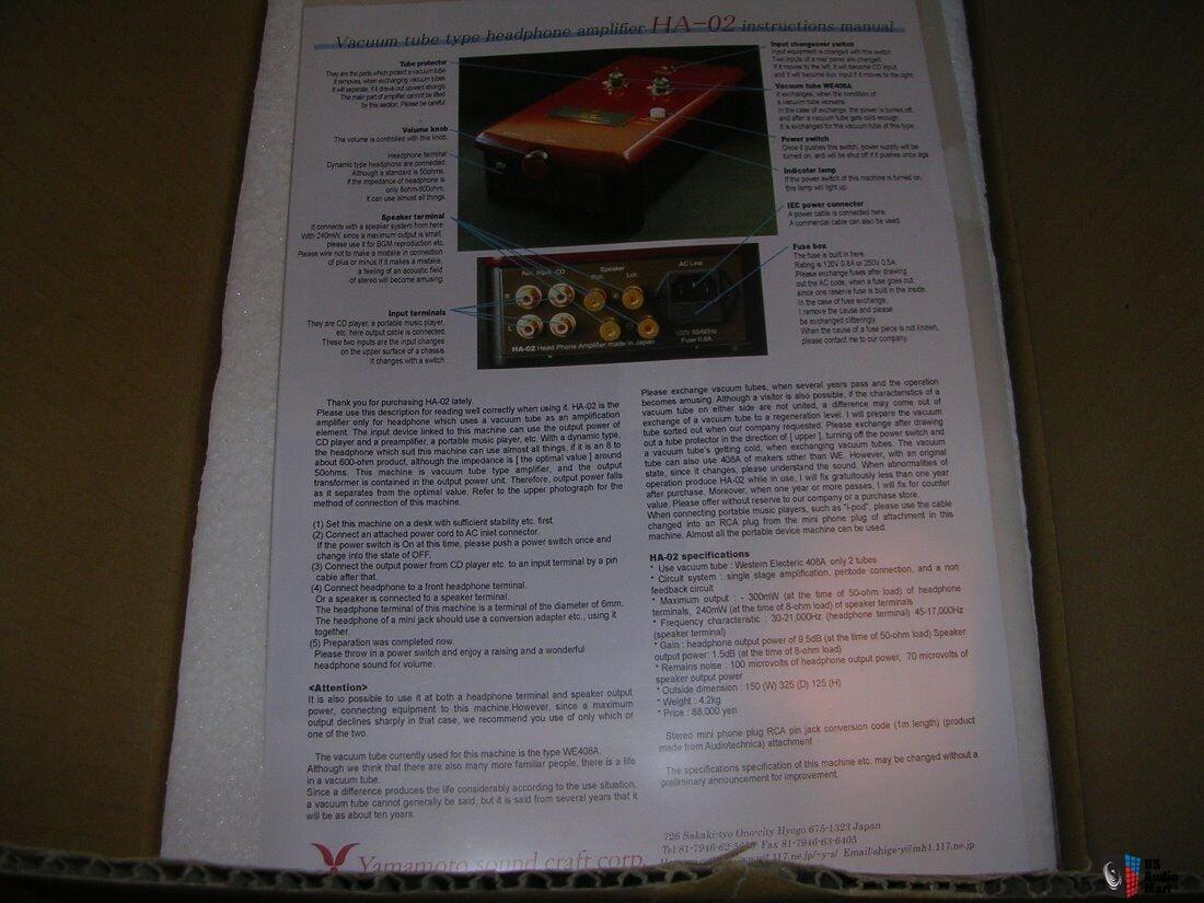 Yamamoto Ha 02 Tube Headphone Amp Photo 1905409 Uk Audio Mart 1905 30 Fuse Box