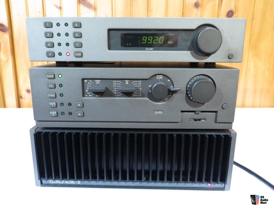 Quad 405-2 Power Amp 44 preamp FM4 Tuner Combo British Classic