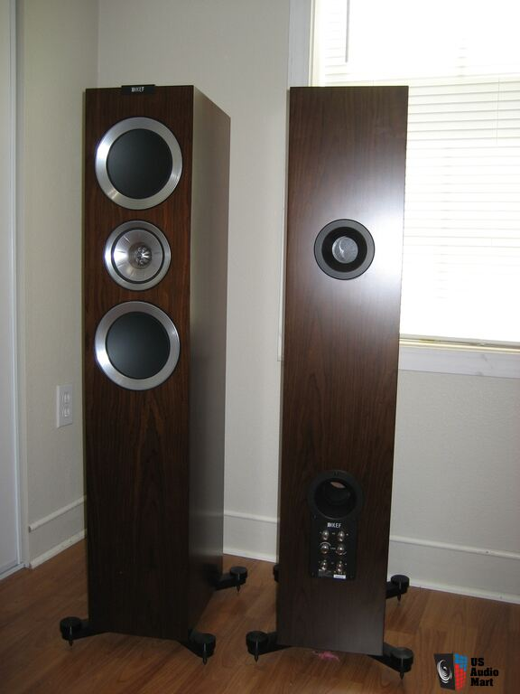 kef r700. kef r700 floor standing speakers, walnut finish kef
